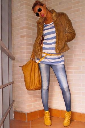 blue Bershka leggings - blue Zara shirt - gold Stradivarius shoes - gold dont kn