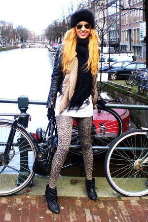 black Sfera jacket - black vintage hat - brown H&M leggings - silver BLANCO swea