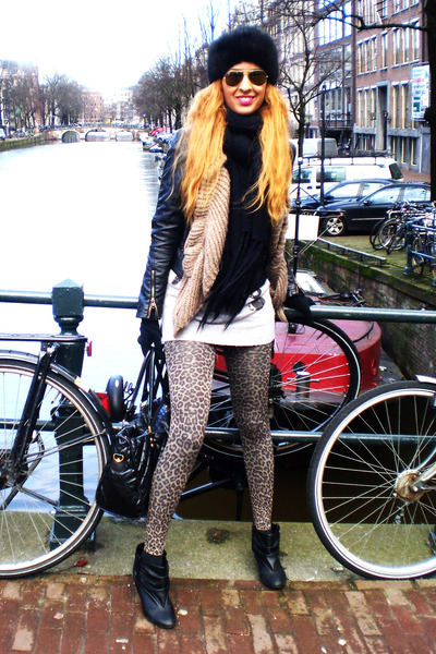 black Sfera jacket - black vintage hat - brown H&M leggings - silver BLANCO swea