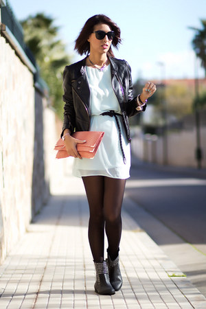 black Zara boots - Primark dress - Primark bag