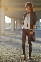 black BLANCO jacket - BLANCO shoes - Primark bag - light pink Bershka blouse