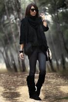 black Zara boots - black Zara jumper