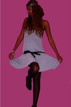 silver calvin klein dress - black Primark tights - Stradivarius shoes - silver Z