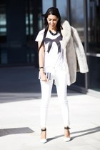 white Zara blouse - white Zara pants