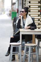 olive green Sheinside coat - black Primark pants