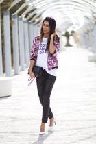 hot pink Sommes démode jacket - white Sheinside t-shirt - black Zara pants