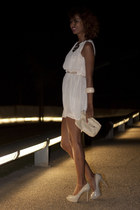ivory Zara heels - light pink H&M dress - ivory BLANCO bag