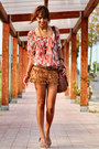 Tawny-fringed-zara-shorts-carrot-orange-bershka-blouse