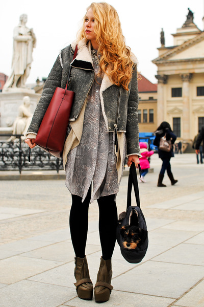 army green acne boots - gray acne jacket - brick red Zara bag - heather gray acn
