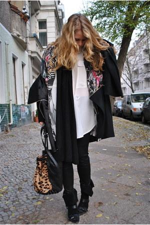black COS coat - black Alain shoes - camel Alexander Wang bag