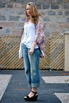 purple Winter Kate jacket - blue CurrentElliot jeans - white H&M t-shirt - black