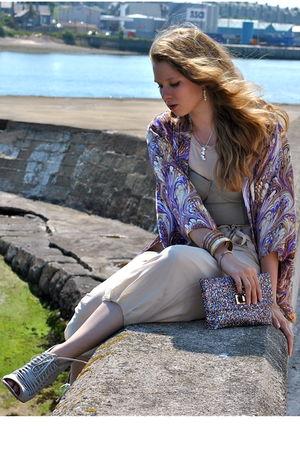 purple Winter Kate cardigan - pink sportmax top - beige By Malene Birger pants -
