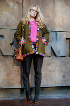 forest green vintage jacket - tawny Mulberry bag - hot pink Zara jumper