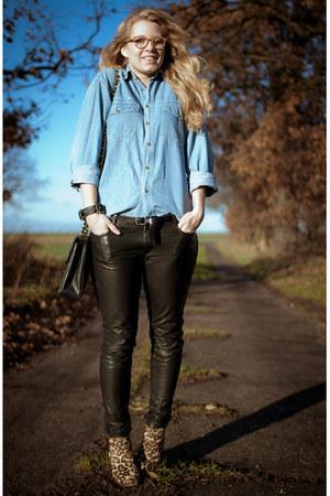 black All Saints pants - brown sam edelman boots - sky blue vintage shirt
