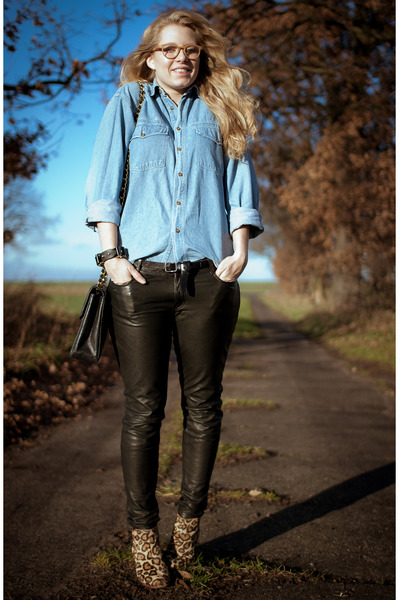 black All Saints pants - brown sam edelman boots - sky blue vintage shirt