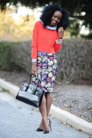 virgos lounge skirt - H&amp;M sweater - Club Monaco shirt - Aldo bag