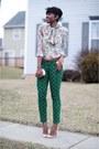 Zara-blouse-bcbg-bracelet-jcrew-pants-christian-louboutin-pumps