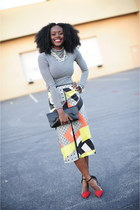 Loft bracelet - H&M shirt - Zara heels - Aldo necklace - Topshop skirt