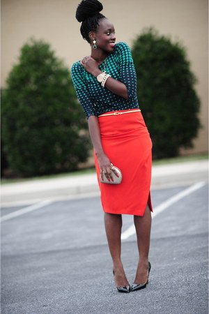 Jcrew shirt - Christian Louboutin shoes - Zara skirt - Aldo bracelet