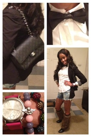 Fur Leggings boots - Chanel bag - besty johnson watch - bow tie accessories
