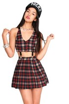 Red Plaid Schoolgirl Cutout Suspender Dress