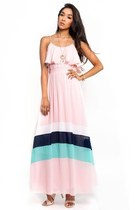 Powder Pink Chain Strap Colorblock Maxi Dress
