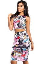 Marilyn Graffiti Crop Top Skirt Set