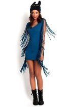 Teal Side Fringe Flirty Mini Dress
