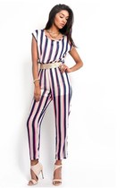Vertical Striped Chiffon Belted Jumpsuit