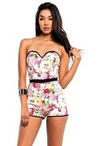 Flower Power Sweetheart Strapless Romper