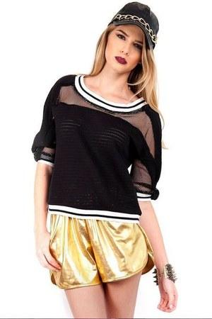 black Slimskii top - gold Slimskii shorts