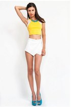 Lemon Mesh Crop Tank Skort Set