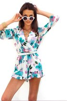 Flirty Floral 3/4 Sleeve Ruffled Romper
