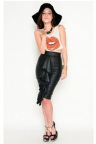Black Señorita High Waist Midi Skirt