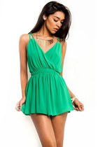 Green Envy Backless Romper