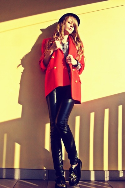 black deezee shoes - black Pimkie hat - red SH jacket - silver New Yorker shirt