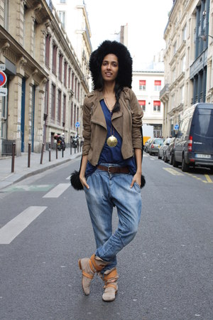 vivienne westwood boots - black thrifted vintage coat - blue Zara jeans - suede