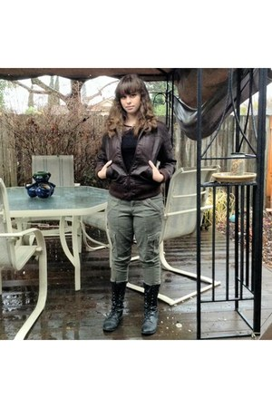 army green leather jacket - forest green lace ups boots - olive green pants