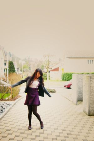 purple DIY skirt - brown tights - gray Only jacket