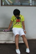 green random from Bangkok t-shirt - white Jaspal shorts - white vintage from ban