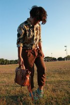 alexa Mulberry bag - boots - cruise printed shirt - pleated pants - belt