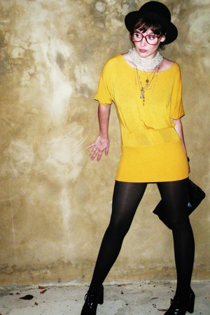 black bowler Forever 21 hat - black forver 21 shoes - yellow shirt dress