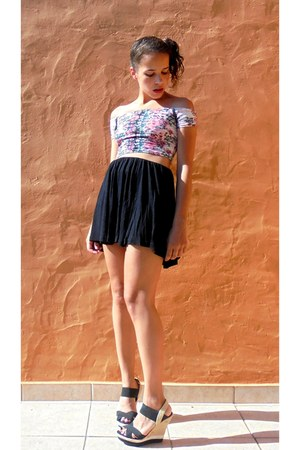 black Bata sandals - black Zara skirt - bubble gum Bershka top