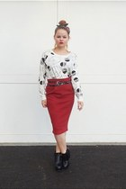 brick red jersey Self Made skirt - white owl print Forever 21 sweatshirt