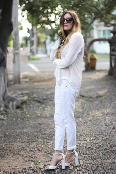white Zara shoes - white long sleeve Zara shirt - gold sequined Zara bag
