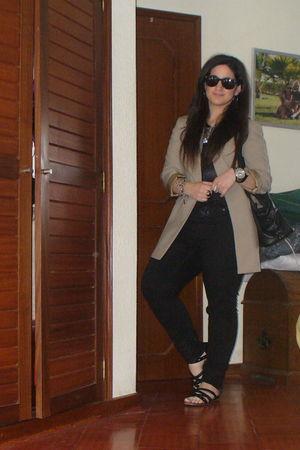 black Zara pants - black sandals - black shirt - beige blazer - black Bag - blac