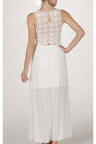 Cropped Crochet Maxi Ivory Dress