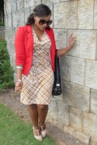 red H&M blazer - tan Charlotte Russe dress - black Michael Kors bag