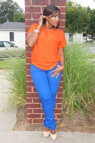 carrot orange thrifted blouse - blue JCpenney jeans - nude GoJane heels