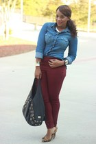 blue Forever 21 blouse - crimson H&M pants